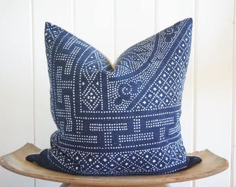 Chinese Batik Deep Indigo Pillow Cover Vintage Boho With 100% Belgian Linen Backing Exposed Gold Zipper