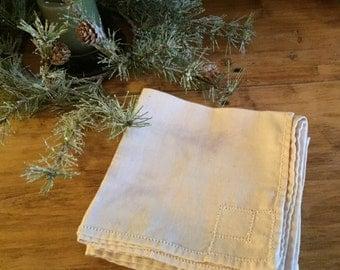 """Antique Linen Napkins - Cut Out Detailing - Off White Color - Set of 8 - 11"""" x 10 1/2"""""""