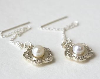 Bridesmaid Earrings, Earrings Wedding, Pearl Earrings, Sterling Silver Earrings, Dangle Earrings, Bride Wedding Earrings, Lace Earrings