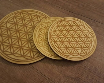 Flower, flower of life, chilling coasters, glass coasters