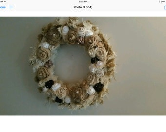 Shabby chic rose wreath