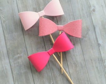 Cupcake Toppers, Bow Toppers, Bow Cupcake Toppers, Pink Bows, Girl Baby Shower, Girl Birthday Party, Bachelorette Party, Party Decorations