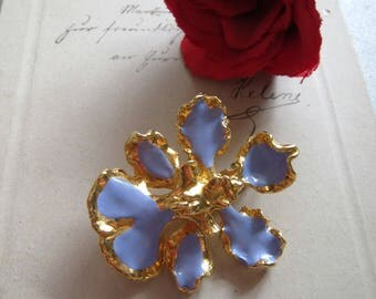 Chain pendant and brooch, * orchids * vintage jewelry, 2 x to use with needle and loop, flowers pendant brooch, 2 in 1, enamelled