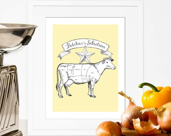 Butcher Chart Kitchen Decor Printable Butcher Diagram Kitchen Print Beef Cut Chart Yellow Kitchen Wall Art Big Size PDF DIY Digital Download