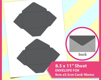 """gift card Envelope Template for 9cmx5.5cm name card, credit card, PSD, PNG and SVG Formats,  8.5x11"""" sheet,  Printable 090"""