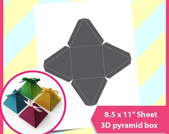 "Instant Download, Pyramid Box,  triangle gift box Template, PSD, PNG and SVG Formats,  8.5x11"" sheet,  Printable 085"