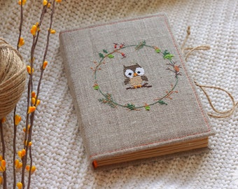 Notebook owl Notepad embroidery Birthday gift Memory book Handmade Made to order