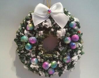 Miniature Dollhouse/Village Wreath - flocked evergreen with rainbow ornaments - Medium