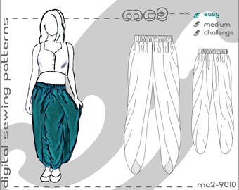 Tulip-shape Dhoti Harem Pants Salwar with Wraps (sizes: S-M-L-XL) Digital PDF Sewing Pattern for Women >mc2patterns< mc2-9010