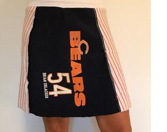 Women's upcycled Chicago Bears 54 Urlacher tshirt skirt A-line yoga waistband size small/medium one of a kind