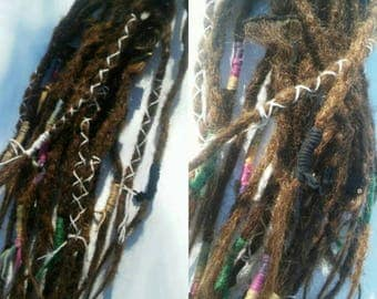 Full set knotty Clip in dreads /  Decorated brown  Dreadlock clip in / DreadLock clip in /long Decorated brown weft locs / clip in dreads