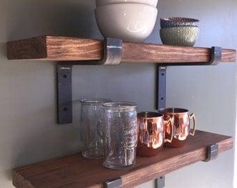 "Industrial Floating Shelves, 12"" Depth Fixer Upper Style, Kitchen Shelf, Wall Decor, Book Shelf, Open Kitchen Shelving"
