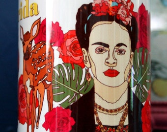 Frida Kahlo Pretty and colourful mug to brighten you day, Artist, Mexico, Day of the dead, Flowers, Roses, Deer, Plants, Leaves, Botanical
