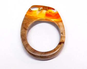 Size 6.5 Wood Resin Ring - Olive Wood - Orange