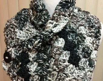 Neck Warmer, Black and Gray Button Cowl, Button Scarf, Black and Gray Neckwarmer, Black Cowl Scarf, Button Neckwarmer, Winter Scarf