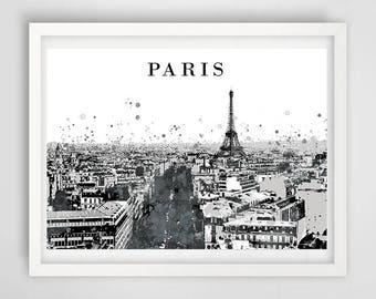 Paris city art print, poster Paris France, decoration art, birthday gift idea, landscape impression, Paris print