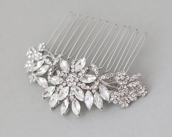 Floral Silver Wedding Comb, Crystal Hair Comb, Floral Bridal Hair Comb, Crystal Hair Comb, Floral Hair Comb, Floral Bridal Headpiece
