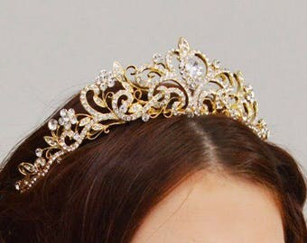 Gold Wedding Tiara, Luxury Bridal Tiara, Crystal Wedding Tiara, Princess Crown, Wedding Flower Tiara, Ref ANNA