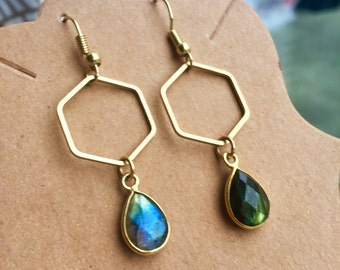 Blue Green Labradorite Faceted Minimal Geometric Drop Dangle Crystal Earrings