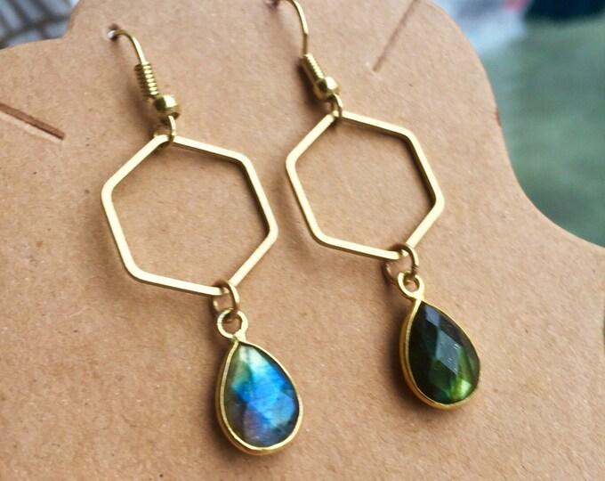 Blue Green Labradorite Faceted Minimal Geometric Drop Dangle Crystal Earrings