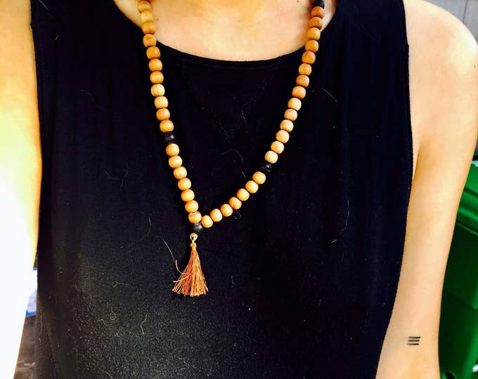 Mala Prayer Wood Bead Meditation Necklace / Bracelet - Buddhist Mantra Sacred Healing Jewelry