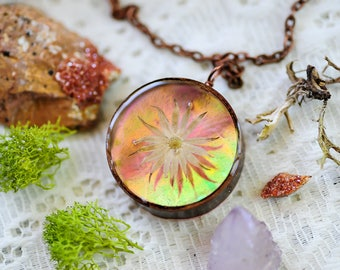 Real flower necklace, Iridescent necklace, Iridescent jewelry, Flower pendant, botanical jewelry,boho jewelry