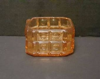 Vintage 1970's Orange Candy Dish Home Decor Glassware