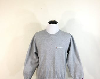 90's champion v-gusset small logo sweatshirt gray color size L