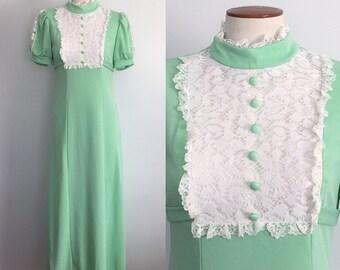 1960s green maxi dress / 60s maxi / lace bib dress / vintage maxi dress / green maxi dress