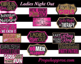 Ladies Night Out Photo Booth Props | Bachelorette | Photo Booth Props | Prop Signs