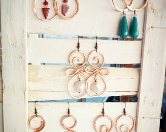 Hammered aluminum earrings gold, copper, silver and natural stones