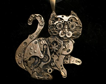 Bronze Watch Parts Kitty Pendant (Tail Up)