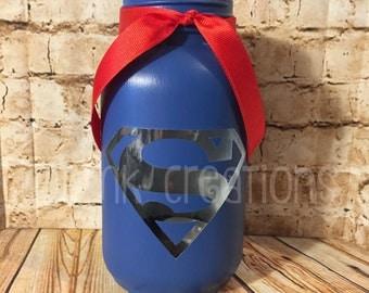 Superman Painted Mason Jar Tea Light Candle Holder, painted mason jar, mason jar,tea light, candle holder, lantern, superman, superhero,