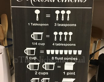 Kitchen Measurement Equivalent Chart, Kitchen Chart, Kitchen Decor, Rustic Home Decor, Wood Sign, Measurement Equivalent Chart