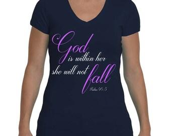 God is within her-Christian Tshirt-Christian-Faith-Inspirational-Women's T-shirt-Christian Clothing-Bible verse-Christian Shirt-Gift for her