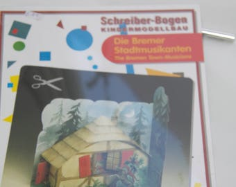 the Bremen Town Musicians, fairytale craft for children, Modelling paper kit, Schreiber Bogen,