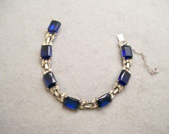 JOSEPH  MAZER  EXQUISITE  Blue  Rhinestone  Bracelet
