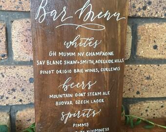Reclaimed timber bar menu sign