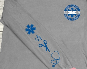 Monogrammed EMT Emergency Medical Technician Thin White Line Personalized Customized