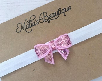 Pretty in pink-sequin bow-newborn-toddler-pink-white-gifts