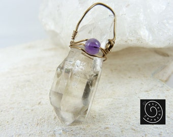 Necklace, Crystal pendant, quartz crystal with Amethyst, Crystal jewelry naturally