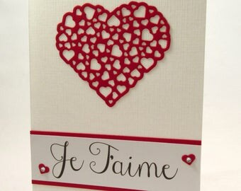 Je Taime, Love Card, French I Love you, French love, Anniversary card, Valentines card, handmade card, expression of love, MADE TO ORDER