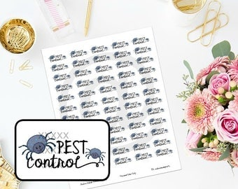 Printable Pest Control Home Maintenance Planner Stickers for ECLP, MAMBI Happy Planner, Filofa, Daytimer
