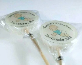 12 Baby Shower Favours, Lollipops, Christening Favours, Image Lollies, Personalised Favours, uk, blue bump, pregnancy gift
