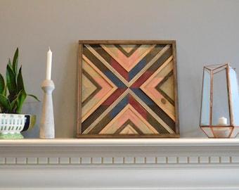 Wood wall art, brown/blue/copper/maroon, burst, flower, decor, panel, pine, cedar, lath 18in x 18in