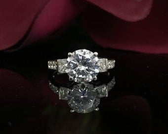 3.00 CTW Round Brilliant Cut Engagement/Wedding/Anniversary/Promise  Ring with Accents in 14k White Gold #4737