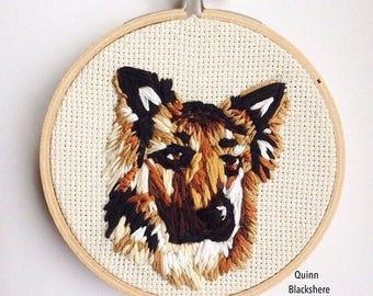 Custom Dog Portrait Embroidery - Detailed