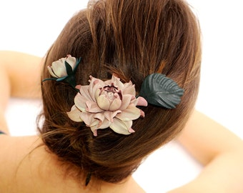 Wooden floral hair stick with rose + addon bud & leaf | Leather Rose, Natural Wood Hair Fork, flower hair pin handmade unique hair accessory