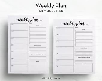 Weekly Planner, A4 printable, Daily Schedule, A4 Planner, To Do List, Daily Planner, Printable Planner, Daily Planner, Essential planner
