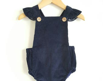Baby girls romper // playsuit // navy // corduroy // baby gift // baby shower